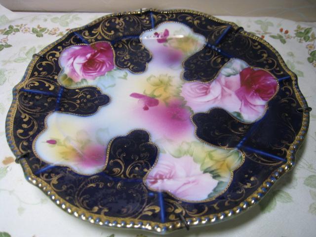 オールドノリタケ・コバルト金盛り薔薇絵・皿