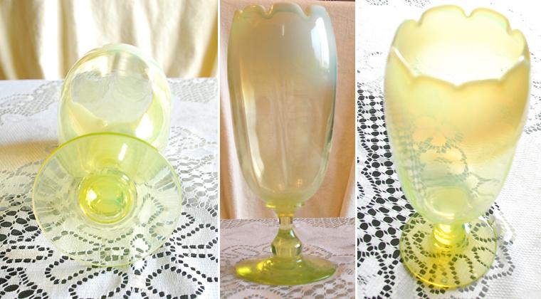 アンテイ—ク・イギリス製・ウランガラス・氷コップ型・花瓶